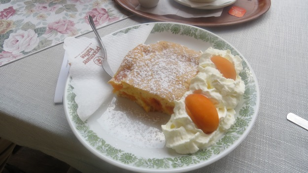 Apricot cake with cream. Still warm from the oven...