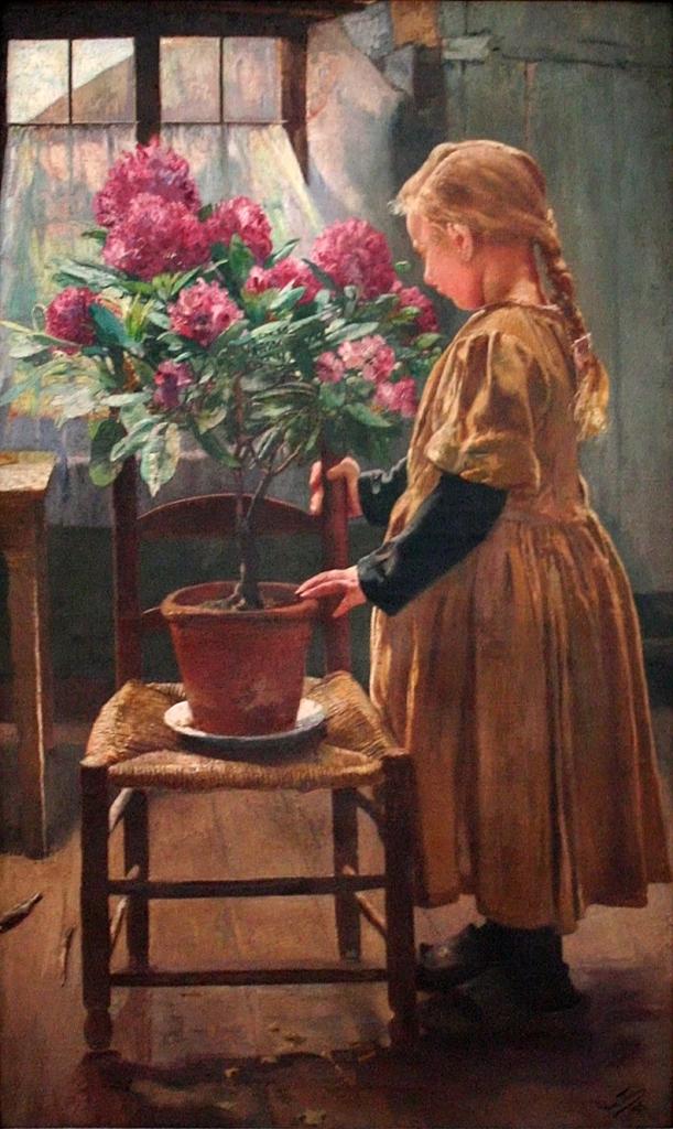 Leon Frederic (1856 - 1940) - 'Rododendron in Bloei' Rododendron in bloei
