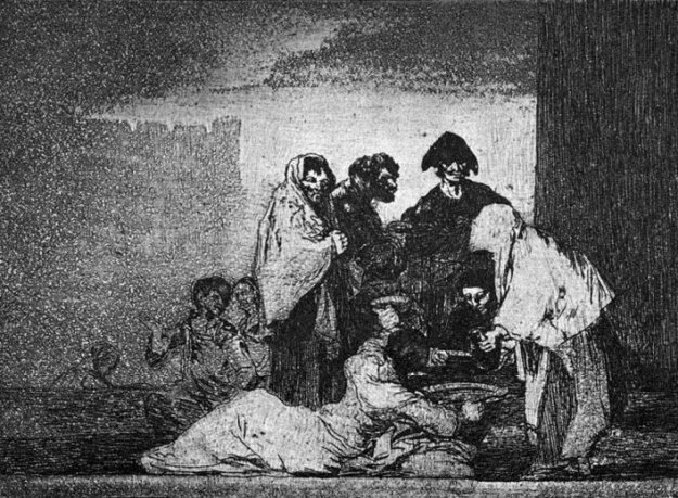 'Because of the grass pea' - this aquatint by Goya shows a woman already crippled by the effects of eating grass pea porridge as a famine food.