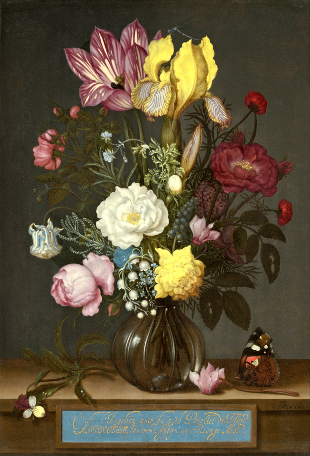 'Bouquet of Flowers in a Glass Vase' by Ambrosius Bosschaert the Elder (1621)