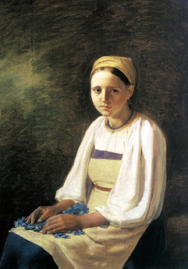 'Peasant Girl with Cornflowers' by Alexey Gavriloch Venetsianov (1820's) (Public Domain)