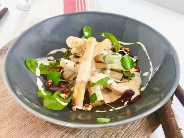 Photo One from https://www.exceedinglyvegan.com/vegan-recipes/soups-starters/roasted-salsify-toasted-walnuts-and-lemony-tahini-dressing
