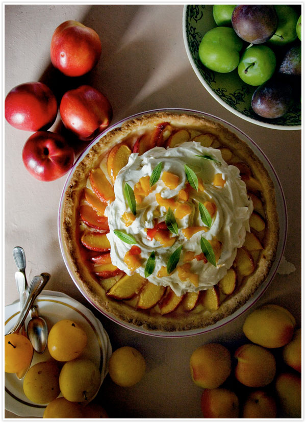 Photo Three from https://camillestyles.com/food/manger-with-mimi-peach-and-vervain-tart/